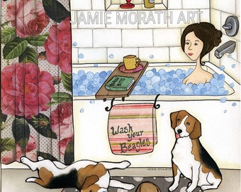 Wash Your Beagles, lady taking bubble bath in bathroom tub with floral shower curtain, three Beagle dog art print, polka dot gray rug