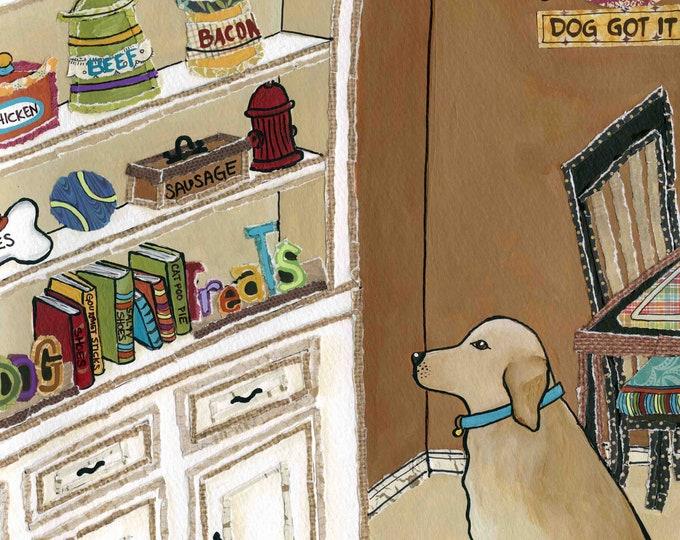 Gourmet Dog, mixed media dog  art print