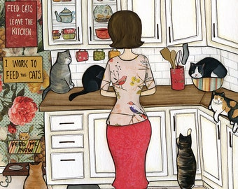 Feed the Cats, lady in kitchen surrounded by cats all over the counter, cat slippers on crazy cat lady . ornament available
