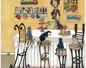 Espraysso  Catfe, cat art print also available in wood ornament, cats, felines, meow, fish, coffee cups, cats eating at table