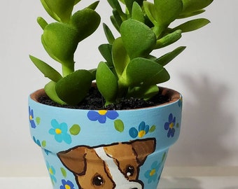 Jack Russell Terrier planter with artificial succulent