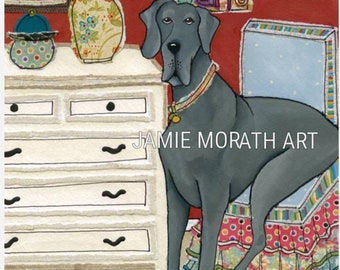 Too Big For a Tea Cup, big grey Great Dane sitting in little dining chair, white dresser home decor wall art print, Great Dane dog ornament