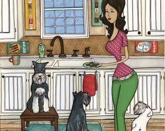 Schnauzer and Sausage, lady in kitchen making breakfast with 3 schnauzer dogs, bacon, eggs and sausage, silver, black, white, grey