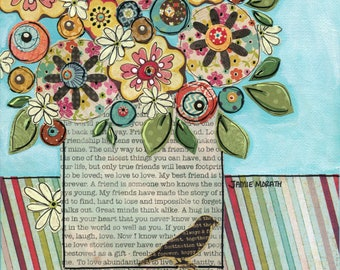 True Friends Think Alike, flower bird painting using mixed media print