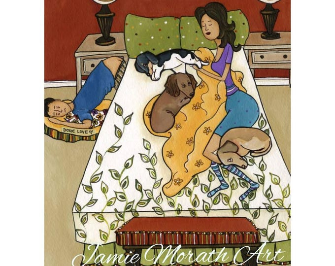 Doxie Love, dachshund dog art, Dogs in bed with people on floor, people in bed with 3 doxies, leaf pattern comforter, bedroom bedding