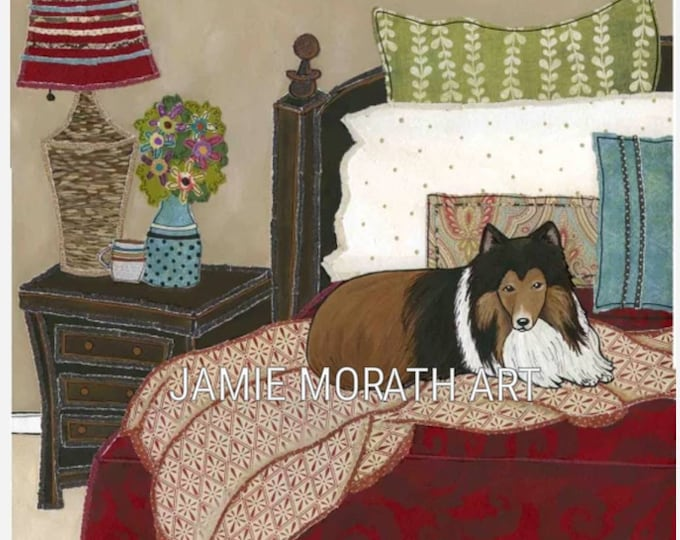 Snuggling With Sheltie, sheltie sleeping in dog bed bedding, Christmas red dog ornament, vase of flowers, blue pillow, lassie dog