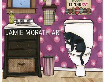 Self Cleaning, black and white tuxedo cat licking its paw sitting on toilet, The only thing self cleaning in this house is the cat art print