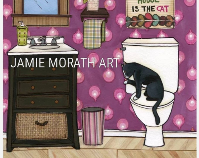 Self Cleaning, the only thing self cleaning in this house is the cat wall art sign, purple bathroom, tuxedo cat, christmas cat ornament