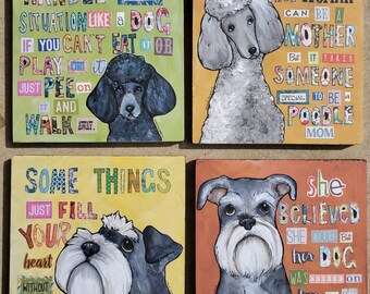 ORIGINAL PAINTINGS One of a kind dog art on wood