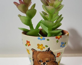 Pomeranian mini pot with artificial succulent