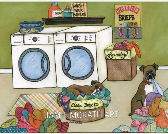 Clean Boxers, boxer dog art print, laundry room decor, sign, laundry room sign, washer dryer art, clothes basket with dog