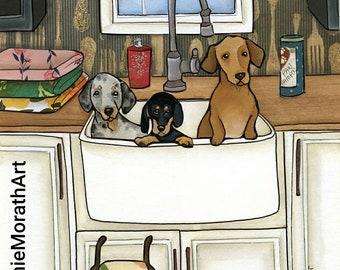 Sink Bath Weenies, dachshund dog art print