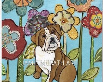 Lovin Bulldog, bull dog art print portrait with mixed media flower background, English Bulldog