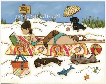 Beach Weenies, lady laying on beach with dachshund dogs, doxies playing on beach art print, ornaments available, ornament ts available