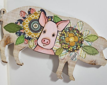 Pig wood wall art