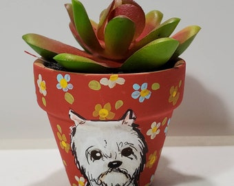 Westie pot with artificial succulent