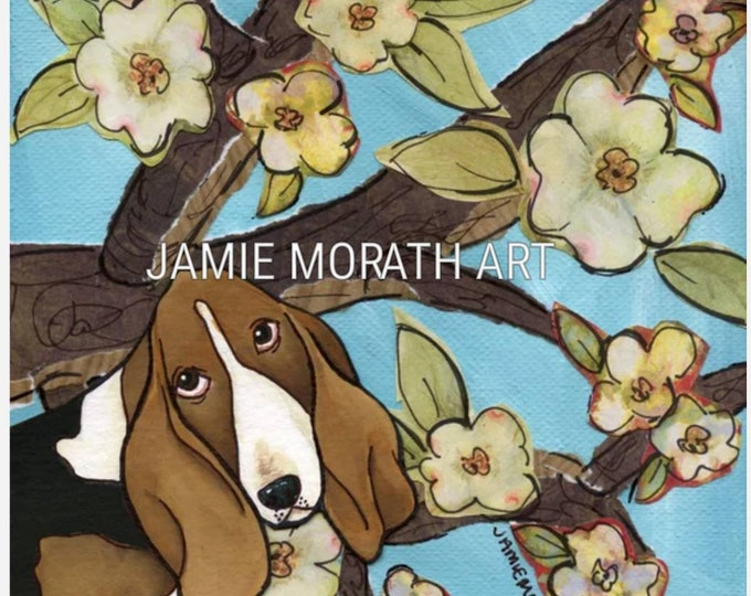 Spring Basset, basset hound dog art portrait with flower tree in sky