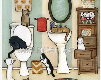 The Big Black Cat, cat drinking out of toilet, cat sleeping in sink, cats in bathroom with striped wallpaper, cat under rug, cat shelf