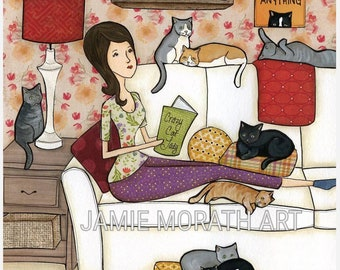 Crazy Cat Lady, Lady sitting on couch with cats reading books art print, cat painting, cat ornament
