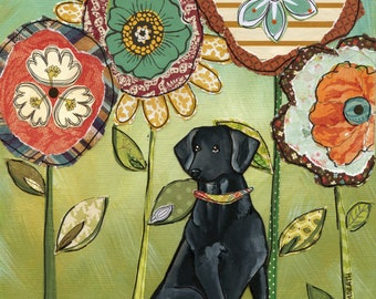 Lovin Lab, black Labrador retriever portrait with mixed media flower background art