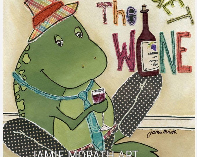 Froget Wine, frog wall art, home decor, wine lovers
