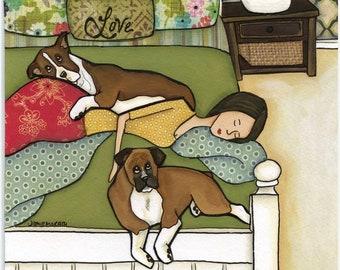 Boxer Love, dog art print
