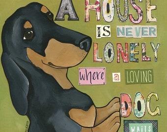 Loving Dog Waits, dachshund dog art