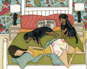 Spoiled Rotten Rotties, rottweiler dog art print,  bedroom home decorating, design pillows, paisley pattern wallpaper
