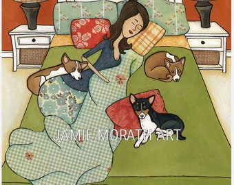 Basenji Goodnight, Always Kiss Your Basenji dog Goodnight, Dog in bed with lady art, available in print and wood dog ornament