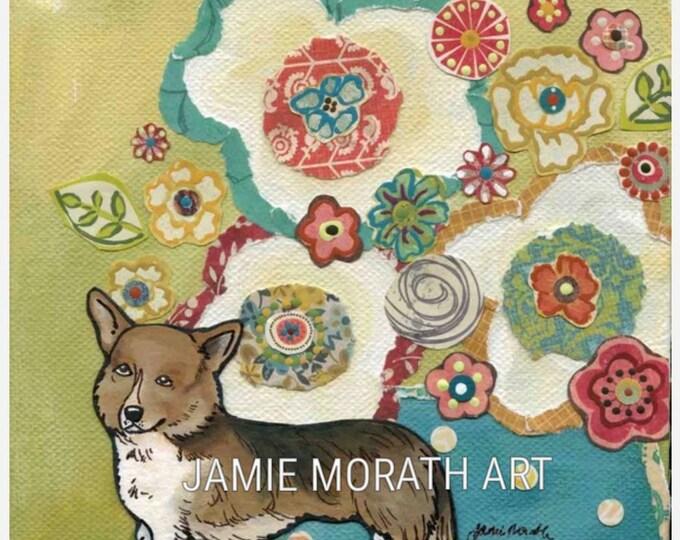 Corgi dog portrait with floral background, turquoise vase