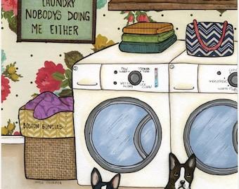 Boston Bundles, Boston Terrier dog art print