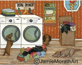 Dirtiest Weenies, Dirty dachshunds in the laundry room, Multiple doxies, Dachshund in the hamper