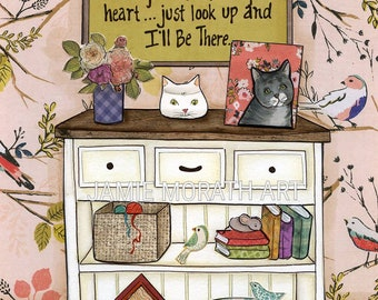 I'll Be There Cat, When you feel me in your heart, cat crossed rainbow bridge memorial piece, gift for cat that has passed away, art print