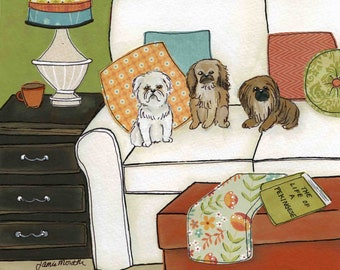 Life of a Pekingese, dog art print