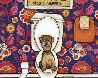 Big Dreams, happen in small places sit back and let the magic happen with floppy eared yorkie, Yorkshire terrier potty bathroom art print