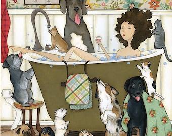 Me Time, schnauzer, Great Dane, Australian shepherd, black Labrador, westie, calico cat, basset hound, dog bathroom art
