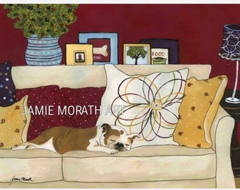 Sweet Dreams, Bulldog sleeping on couch with pillows, slobber jaws, couch dog bed, Ornament available, flower pillows
