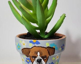 Boxer planter with artificial succulent