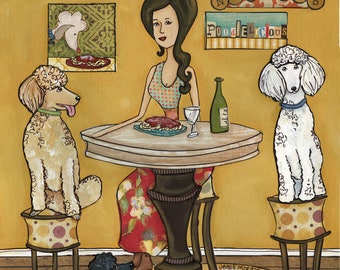 Poodles and Noodles, poodle dog art print, poodle in kitchen eating noodles, spaghetti, pasta, kitchen wall home decor, ornaments