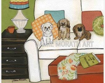 Life of a Pekingese, dog art print