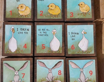 Bunny, Chick and Duck art on wood, Easter