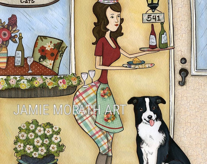 Wine Border, Cafe painting with lady chef in front of bistro building holding wine bottles and glass and border collie dog art print kitchen