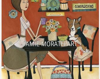 Corgilicious, Corgi dog art print, dogs in kitchen drinking coffee, kitchen home decor