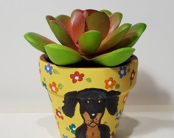 Weenie Dog planter with artificial succulent