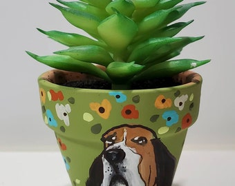 Basset Hound dog handpainted pot with artificial succulent