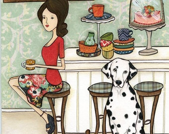 Dalmatians and Dishes, lady sitting on bar stool at kitchen island with dalmatian dog and dirty dishes, dog art print, dessert treats