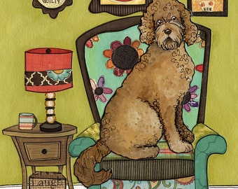 Until Proven Guilty, Goldendoodle innocent until proven guilty, golden doodle dog art print, golden in pattern chair, whimsy dog painting