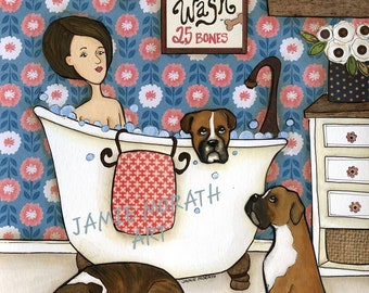 Boxer Wash, boxer dog bathroom art print