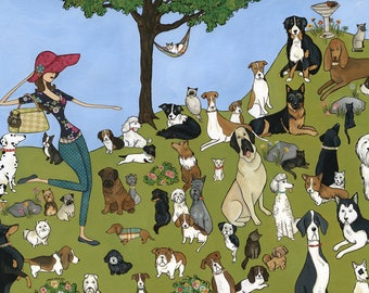 Animal Love, lady walking a lot of cats and dogs of many breeds in a field of grass, cat in tree hammock, dog walker gift