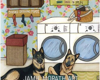 Know When To Run, German Shepherd dog, GSD, socks seeking mate, laundry room sign, decor, quotes, home, washer, dryer